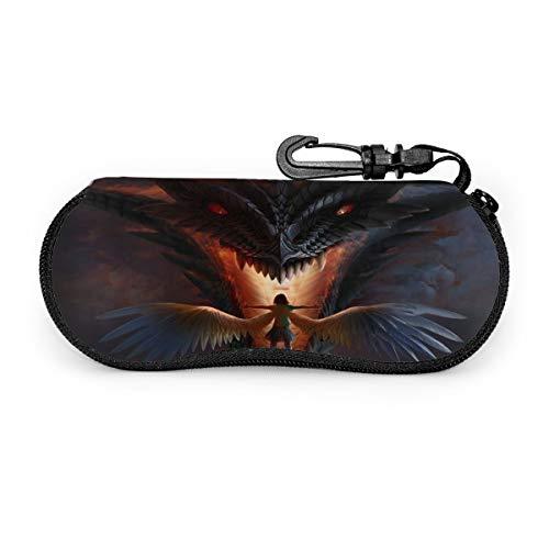 Angel Girl And Dragon Brillenetui, tragbar, Reisverschluss, Sonnenbrillenetui, Brillenetui, Schutz-Set