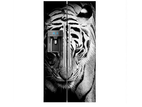 Vinilo Frigorífico Americano Cabeza Tigre Blanco