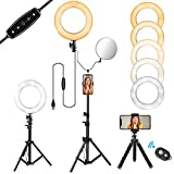 10' Selfie Ring Light with Stand and Phone Holder for Makeup/Live Stream, Includes a Small Flexible Tripod Stand, Perfect for YouTube Video Shooting/Vlogs/Desktop, Compatible with iPhone Android Phone