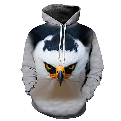 YUEJINGCHI Mens Womens 3D Printed Graphic Hoodies Novelty Pullover Hooded Sweatshirts Plus Size Animal Eagle White S