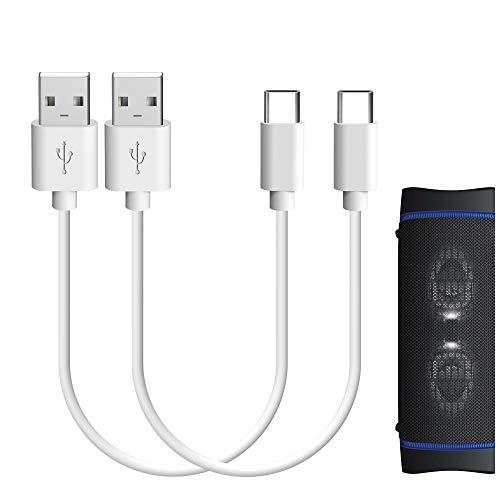 Geekria Cable de carga tipo c para Sony SRS-XB43, SRS-XB33, SRS-XB23/USB-A a USB-C Cable cargador para altavoces inalámbricos Bluetooth SONY (blanco, 2 unidades)