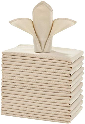 Cieltown Polyester Cloth Napkins 1-Dozen, Solid Washable...