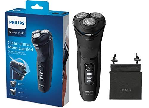 Philips Serie 3000 S3233/52 - Afeitadora eléctrica, cabezales pivotantes y flexibles 5D, cortapatillas desplegable para bigote y patillas, seco o húmedo, 60 min de...
