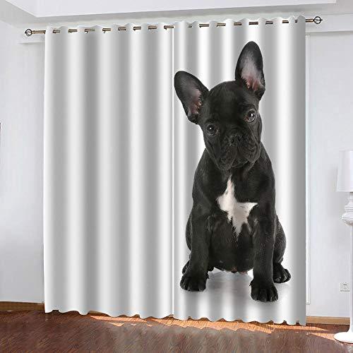 LWXBJX Opacas Cortinas Dormitorio - Perro Animal Negro - Impresión 3D Aislantes de Frío y Calor 90% Opacas Cortinas - 200 x 214 cm - Salon Cocina Habitacion Niño Moderna Decorativa