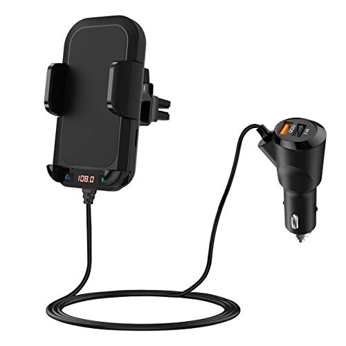 (2020 New) Bluetooth FM Transmitter with Phone Holder, V5.0 Bluetooth Car Adapter, with Vent Clip, 5V/2.4A + QC3.0 Quick Charge Wireless Hands-Free Call Car Kit, Support Support U Disk/TF Card/AUX