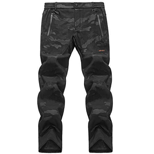 CHLNIX Herren Softshell-Kletterhose mit Fleecefutter Outdoor-Regenschutz Winter Warm Walking Radfahren Camouflage-Hose