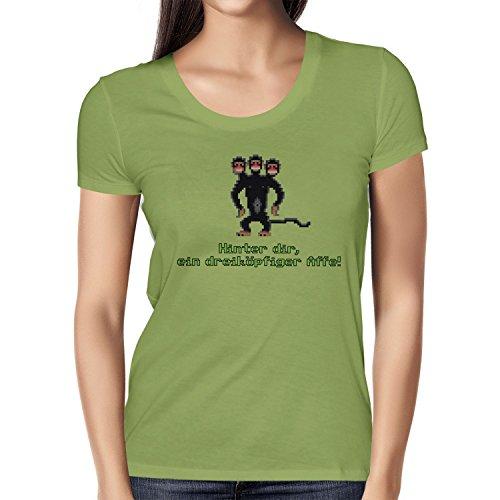 NERDO - Dreiköpfiger AFFE - Damen T-Shirt, Größe M, Kiwi