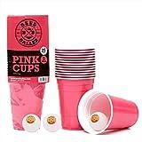 BeerBaller Pink Cups | Beer Pong Set Incl. 25 Vasos Beer Pong Rosas y 3 Pelotas Beer Pong | 473ml 16oz - ¡Tazas de Fiesta Americanas Originales!
