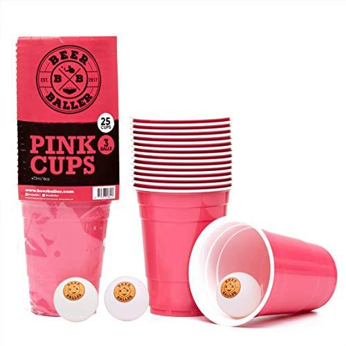 BeerBaller® PINK CUPS - 25 Pinke Beer-Pong Becher & 3 Bierpong Bälle | 473ml 16oz – Original Retro American Party-Becher für eure Studentenparty, Festival und Beerpong Turniere