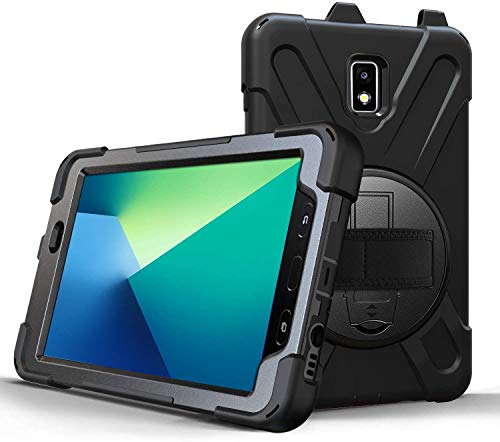 Hand Strap Armor Case for Samsung Galaxy Tab Active 2 8.0-360 Degree Rotating Kickstand Cover - Black