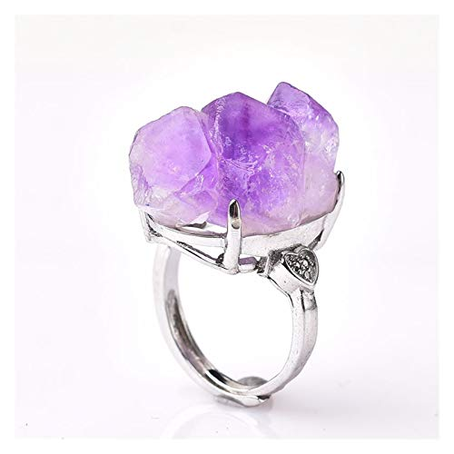 CQHUI Natural Amethyst Cluster Ring Mineral Jewelry Ornaments Wedding Gifts Gemstone Souvenir Healing Meditation Decoration Adjustable (Color : Natural Amethyst, Size : 1pc)