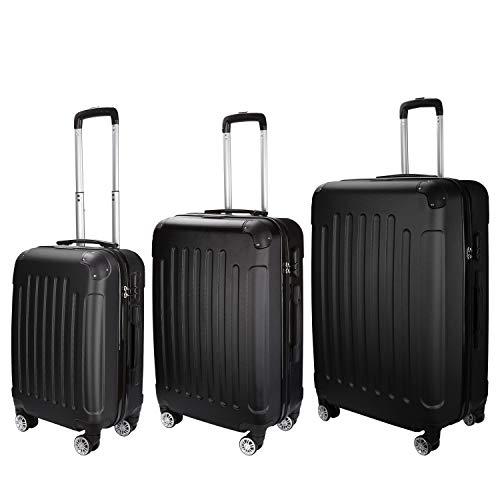 Tolletour Trolley Koffer 3er Set mit Zahlenschloss ABS-Hartschale Hartschalenkofferset mit 4 360° Rollen M-L-XL