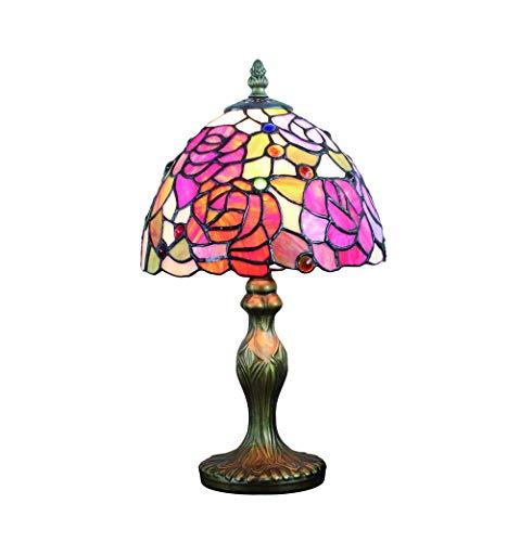 Tokira Tiffany Stil Rote Rose Tischlampe, 8 Zoll Europäischen Art Deco Glasmalerei Nachtlicht, Nachttischlampe Schlafzimmer im Wohnzimmer, Kostenlose LED-Lampe