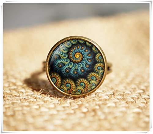no see long time Anillo de geometría con diseño de Flor de Aguamarina, Anilla Turquesa de Aguamarina, Anillo Floral, joyería en Espiral de fibroaccipiña