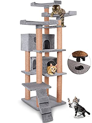 Leopet Quick Connect Cat Tree Scratching Post Activity Centre Scratcher (Choice of Colours) 163 cm / 64.1 in High with Spacious Fluffy Caves Large Sightseeing Platforms