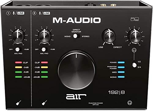 M-Audio AIR 192 8 - Interfaz de audio MIDI / tarjeta de sonido USB / USB-C, 2 entradas, 4 salidas, software de estudio, ProTools First, Ableton Live Lite, Eleven Lite y efectos de Avid y AIR MusicTech