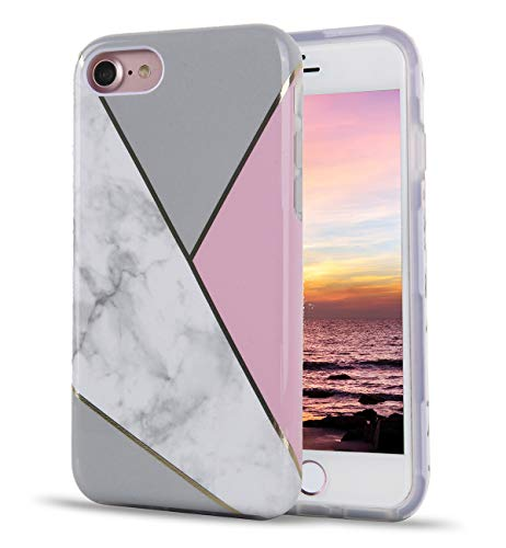 TRENSOM Marble Stripes iPhone SE 2020 Case 2nd Gen Case iPhone 8 Case iPhone 7 Case Stitching Marble Pattern Dual Layer Clear Soft TPU Hard PC Shockproof Phone Cases for Women Girls Men Boys[4.7