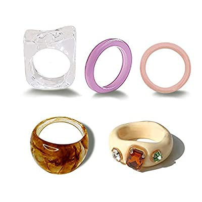 Colorful Chunky Acrylic Resin Rings,Fashion Rhinestone Band Ring for Women Girls Stackable Statement Rings Silicone Ring Set Wedding Band (A)
