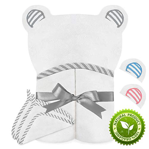 Spiny Babbler Organic Bamboo Hooded Baby Towel with 2 Bonus Washcloths - Large Baby Hooded Towel for Newborn, Infant & Toddlers - Perfect Soft Baby Towel for Boys and Girls (Grey)