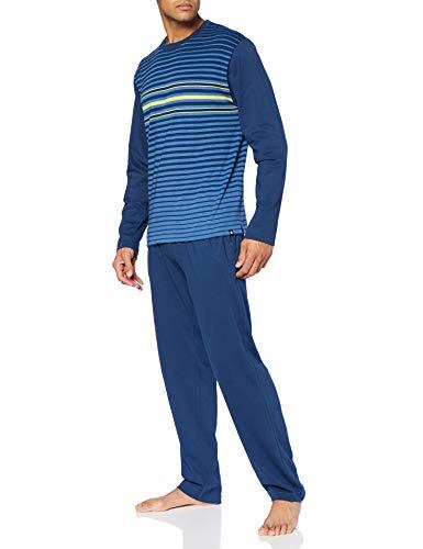 Punto Blanco Conjunto Frequency Juego de Pijama, Azul, L para Hombre