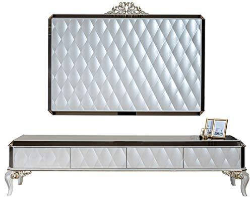 Casa Padrino Barock TV Schrank Weiß/Gold/Schwarz 235 x 52 x H. 54 cm - Edles Massivholz Lowboard mit TV Wand - Wohnzimmerschrank - Wohnzimmer Möbel im Barockstil