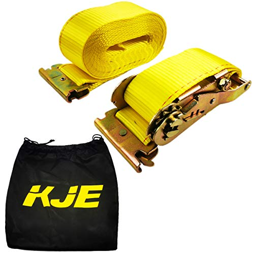 2 E Track Ratchet Tie-Down Cargo Straps, 2' x 20' Durable Ratcheting Strap Cargo TieDowns, Heavy Duty Yellow Polyester Tie-Downs, ETrack Spring Fittings KJE 1PC