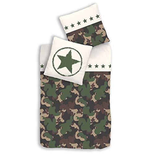 Biancheria da letto per bambini e ragazzi, motivo mimetico militare con stelle, 100% cotone renforcé, federa 80 x 80 cm + copripiumino 135 x 200 cm