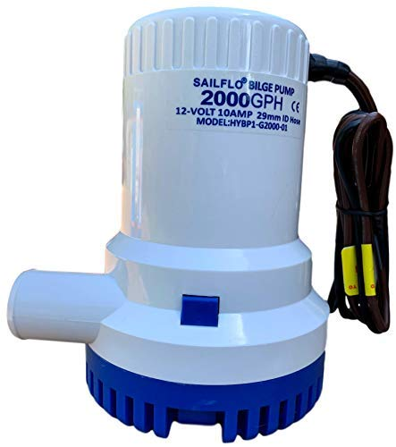 SAILFLO 2000 GPH 12v Boat Marine Plumbing Electric Bilge Pump 1 1/8 Outlet.