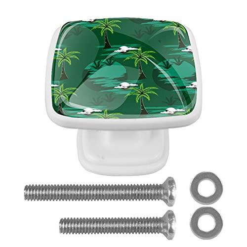 Perillas cuadradas de plástico con diseño lindo de aspecto moderno Palmera verde Tirador de puerta para armario, cajón, armario, 4 paquetes 3x2.1x2 cm