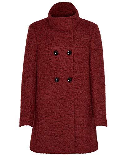 ONLY Damen Woll-Mantel onlSophia Boucle Wool Coat Kurzmantel, Farbe:Rot, Größe:XXL