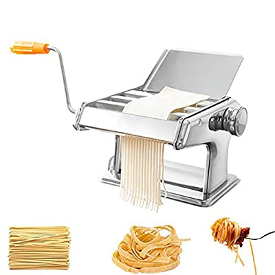 LTLCLZ Homemade Pasta Maker All in One 6 Thickness Settings with 3 Cut Press Blade Settings for Fresh Fettuccine Spaghetti Lasagne Dough Roller Press Sturdy Cutter Noodle Making Machine