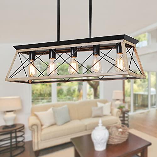 XIPUDA Kitchen Island Lighting, Rustic Dining Room Light Fixture, 5-Light Linear Farmhouse Pendant...