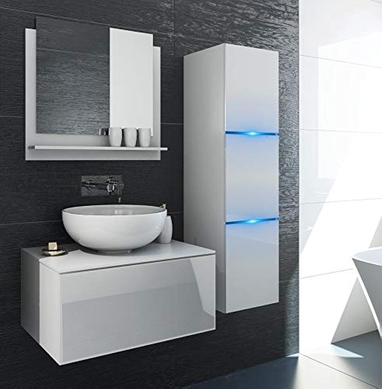 Home Direct Like Modernes Badezimmer Badembel Badeschrnke L60 1-8 HG W 2 Wei ohne Waschbecken (Fronten  Wei Hochglanz Korpus  Wei Matt, LED RGB 16 Farben)