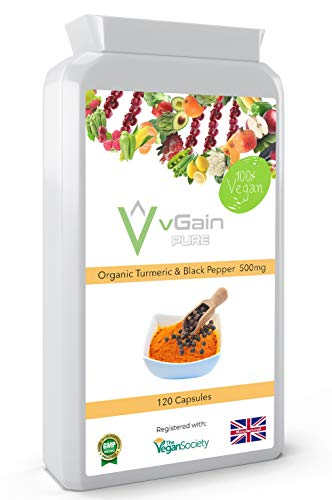 High Strength Turmeric 1500mg with Black Pepper Capsules with Active Curcumin Curcuminoids Extract per Serving by vGain PURE - Certified Vegan by The Vegan Society - Joint Support for Men & Women