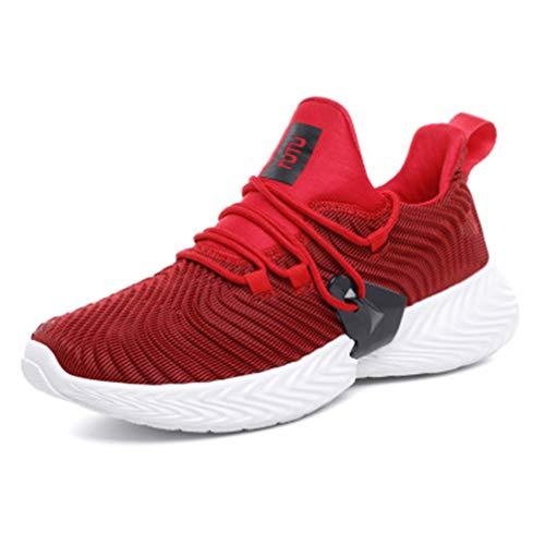 mofeng - Zapatillas de Deporte para Hombre, Informales, Transpirables, Ligeras, para Caminar, Correr, Color Rojo, Talla 44 EU