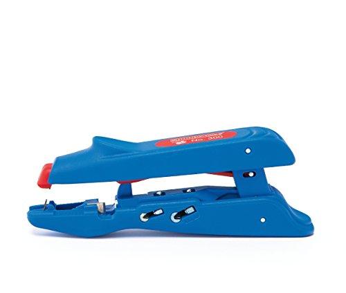 WEICON 51000300 Duo-Crimpzange No.300 Abisolierer mit Seitenschneider für Aderendhülsen, blau/rot, 160mm