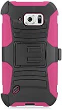 Customerfirst - Defender Shell Holster Combo Case For Samsung Galaxy S6 Active, Protective Skin Case Cover With Advanced Armor Impact Hybrid Soft Silicone Cover Hard Snap On Plastic Case Kick Stand with Belt Clip Holster Galaxy S6 Active - Includes Plunger Stand (H PINK)