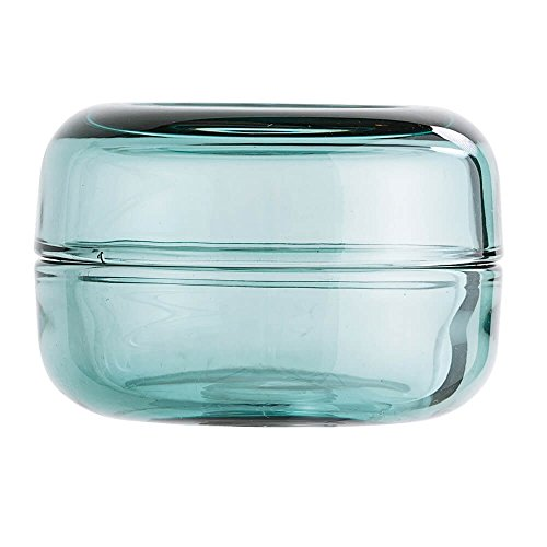 Bloom ingville Boîte de rangement en verre bleu-vert