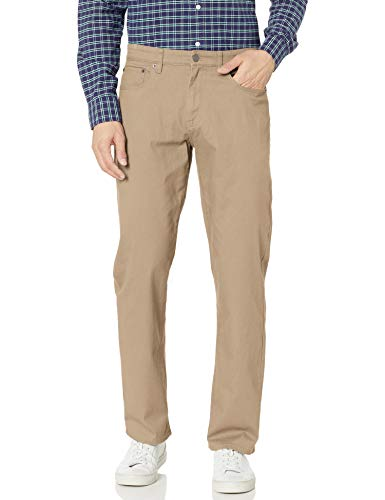 Amazon Essentials Relaxed-Fit 5-Pocket Stretch Twill Pant Hose, Khaki, 32W x 30L