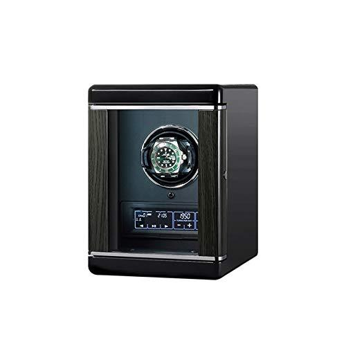 ZCXBHD Cajas Giratorias 1 Relojes Interruptor de Huella Digital Inteligente con Mando A Distancia LCD con Panel Táctil Iluminación Incorporada Motor Silencioso 6 Programas de Rotación Caja Para Reloje