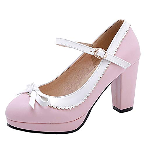 Femany Damen Mary Jane Blockabsatz High Heels Pumps mit Riemchen und Schleife Rockabilly Lolita Cosplay Schuhe (Pink,46)