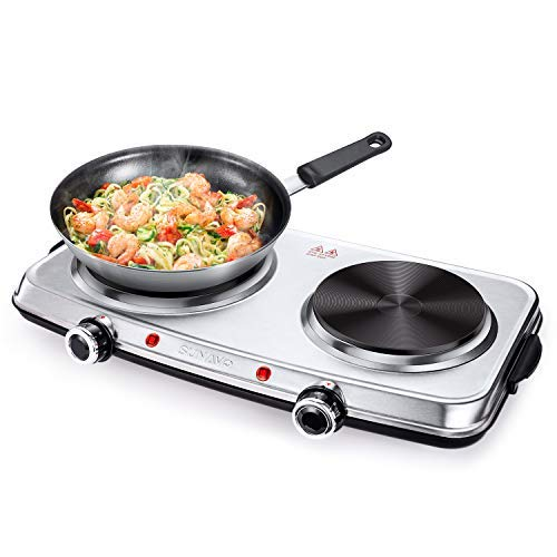 SUNAVO Hot Plates for Cooking, Electric Hob with Handles, Stainless Steel Hot Plate (Stainless Steel)