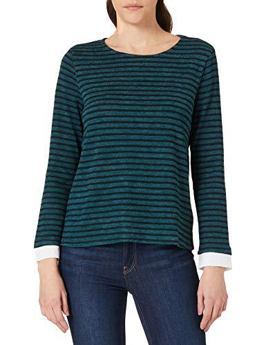 Camiseta bimateria de rayas, manga larga, cuello redondo, Verde, M