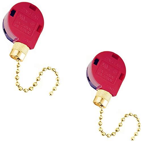 Ceiling Fan Switch Zing Ear Pull Chain Switch ZE-268S1 3 Speed 4 Wire Pull Chain Switch Control Ceiling Fan Replacement Speed Control Switch.(2 pack Brass)