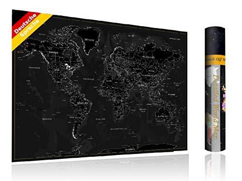 FlyHigh XXL Weltkarte Poster zum Rubbeln in Deutscher Sprache (80x56 cm) inklusive Klebesticker, Kratzwerkzeug und Mikrofasertuch (Schwarz)