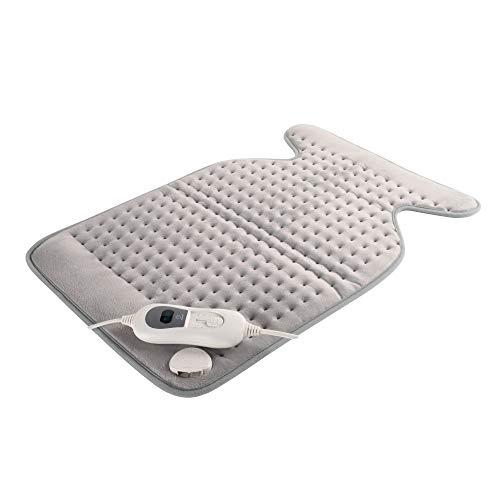Mobiclinic, Almohadilla eléctrica dorsal y cervical, 3 Niveles de calor, Apagado automático, Marca Española, Para espalda, lumbares y cervicales, Lavable, Gris, 62x43