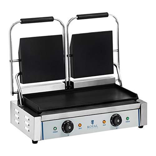 Royal Catering RCKG- 3600-F Doppel Kontaktgrill Sandwichmaker Tischgrill (Glatt, 2 x 1.800W, 300°C, Gusseisen emailliert, Edelstahl, 48,5 x 23,5cm) Silber