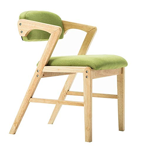 YAN JUN Vintage Dining Chair | Solid Wood Backrest Armchair | Home Office Computer Chair | Modern Kitchen Cafe Chair | Removable Cleaning ++ (Color : Green)