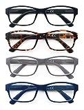 HEEYYOK 4 Pacco Occhiali da Lettura,Leggero Moda,Cerniere a Molla di Qualita,Occhiali da Vista per Uomo Donna,Mescola Colore 2.0