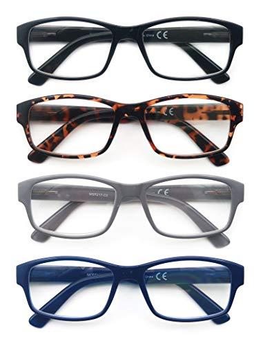 HEEYYOK 4 Pacco Occhiali da Lettura,Leggero Moda,Cerniere a Molla di Qualita,Occhiali da Vista per Uomo Donna,Mescola Colore 2.5